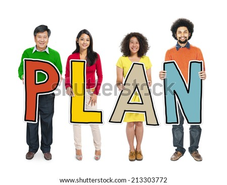 DIverse People Holding Text Plan