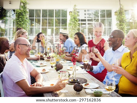 Diverse People Luncheon Outdoors Hanging out Concept - stock photo