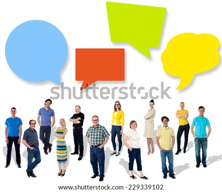Diverse people posing with speech bubbles - stock photo