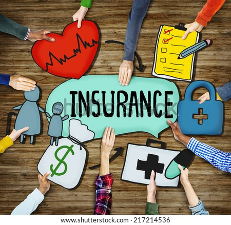 Diverse People's Hands Holding Insurance Text and Symbols - stock photo