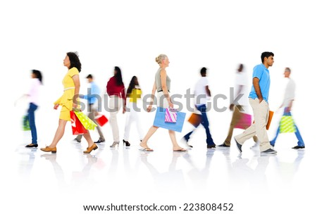 Diverse People Walking with Shopping Bag - stock photo