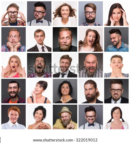 Diverse people with different emotions. Collage of diverse multi-ethnic and mixed age range people expressing different emotions. - stock photo