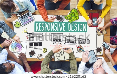 Diverse People Working and Responsive Design Concept - stock photo