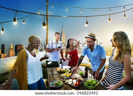 Diverse Summer Party RoofTop Fun Concept - stock photo