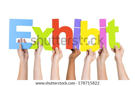 Diverse World Hands Holding Exhibit - stock photo