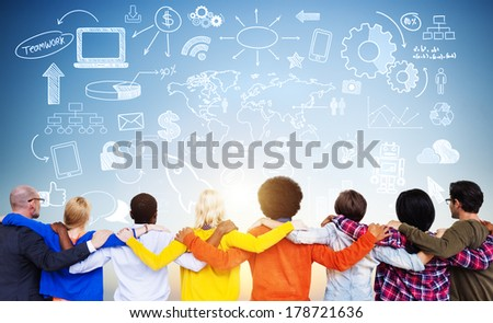 Diverse World People with Infographic - stock photo