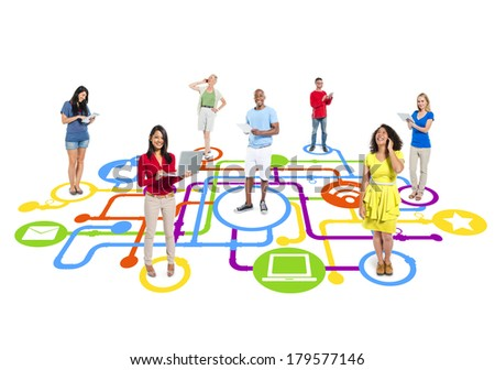 Diverse World People With Social Media Connection - stock photo