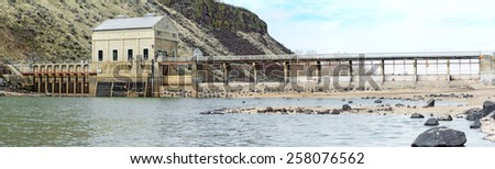 Diversion Dam in the Boise river in Idaho - stock photo