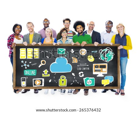 Diversity Casual People Cloud Computing Information Data Concept - stock photo