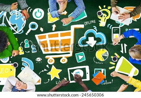 Diversity Casual People Online Marketing Brainstorming Discussion Concept - stock photo