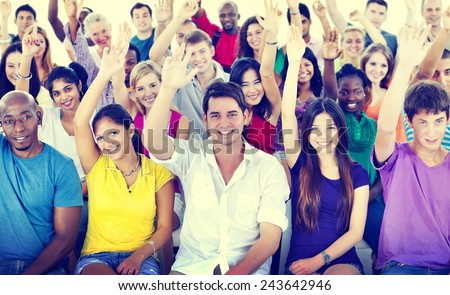 Diversity Casual Team Cheerful Community Concept - stock photo