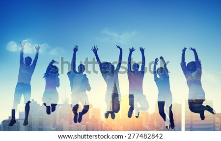 Diversity Casual Teenager Team Success Winning Concept - stock photo
