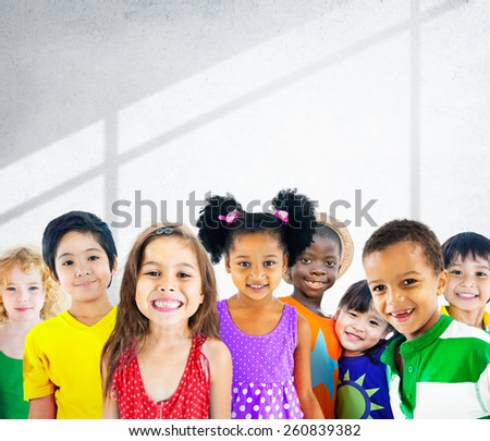 Diversity Children Friendship Innocence Smiling Concept - stock photo