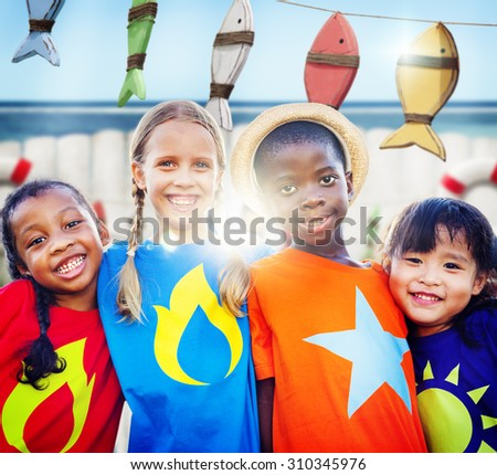 Diversity Children Smiling Summer Happy Team Concept