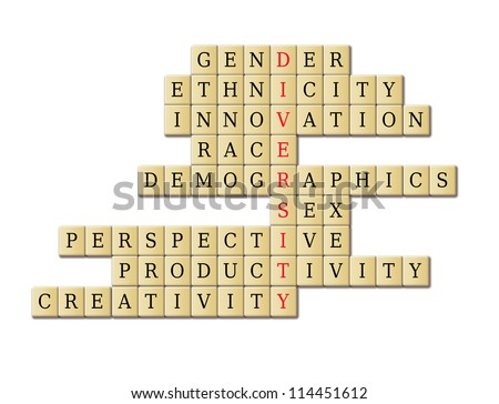 Diversity crossword puzzle in a white background abstract. My original ideas. - stock photo