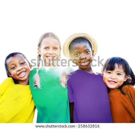 Diversity Ethnicity Children Friendship Smiling Happiness Concept