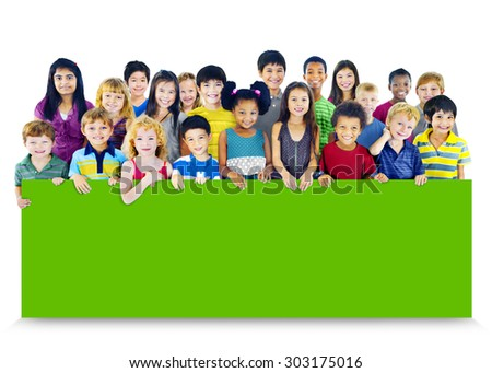 Diversity Friendship Group of Kids Education Billboard Concept