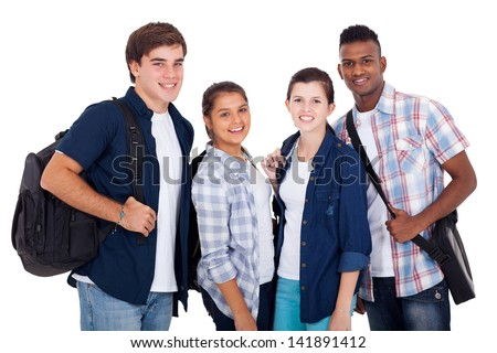 diversity group of teenage boys and girls isolated on white background - stock photo