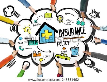 Diversity Hands Insurance Policy Volunteer Support Help Concept - stock photo