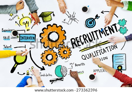 Diversity Hands Recruitment Search Opportunity Concept - stock photo