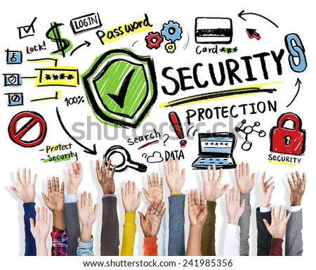 Diversity Hands Security Protection Volunteer Support Concept - stock photo