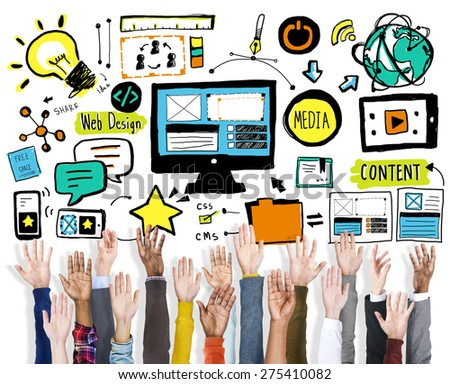 Diversity Hands Web Design Teamwork Support Volunteer Concept - stock photo