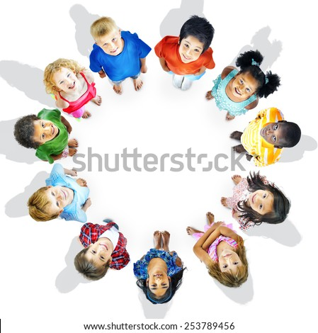 Diversity Innocence Children Friendship Aspiration Concept - stock photo