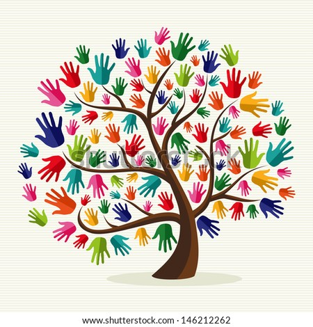 Diversity multi-ethnic hand tree illustration over stripe pattern background. - stock photo