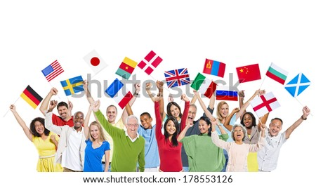 Diversity of People Holding World Flags - stock photo