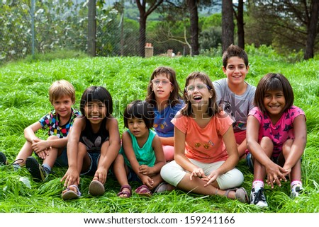 Diversity outdoor group Portrait of new generation. - stock photo
