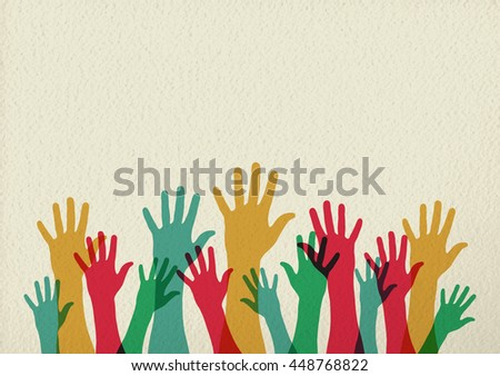 Diversity people group raising hands, colorful diverse teamwork collaboration concept illustration on texture background.