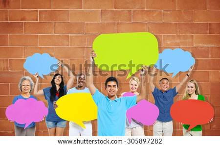 Diversity People Holding Colorful Speech Bubbles Concept