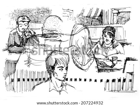 Diversity people in cafe illustration - stock photo