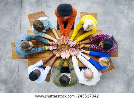 Diversity People Student Teamwork Friendship Support Concept - stock photo