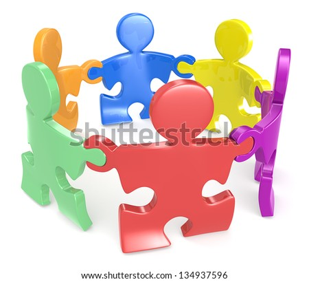 Diversity. Puzzle People x6 holding hands in circle. Multi color. - stock photo