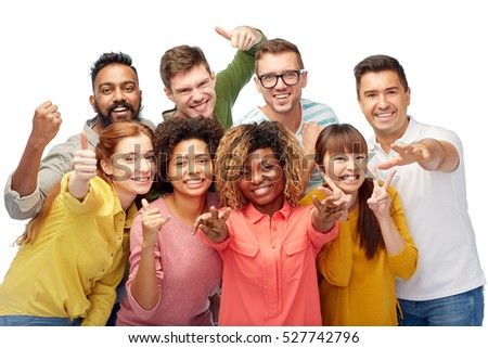 diversity, race, ethnicity and people concept - international group of happy smiling men and women showing thumbs up and peace over white
