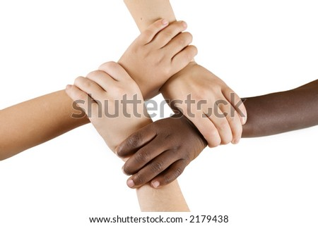 Diversity Series - Four children linking hands. - stock photo