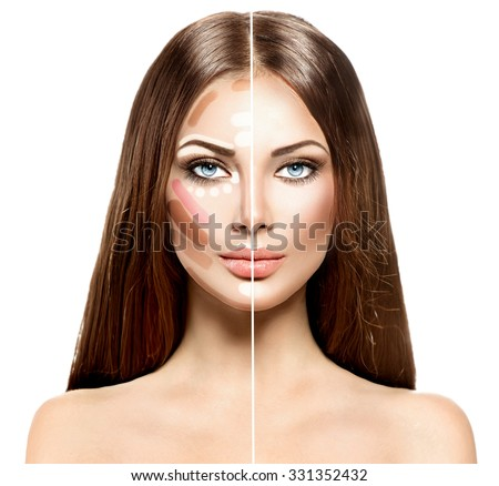 Divided woman face before and after blending Contour and Highlight makeup. Professional Contouring face make-up applying sample. Comparison portrait of two parts of model girl face - stock photo