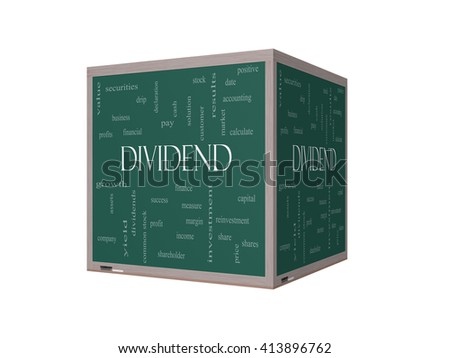 Dividend Word Cloud Concept on a 3D Blackboard with great terms such as pay, assets, yield and more. - stock photo