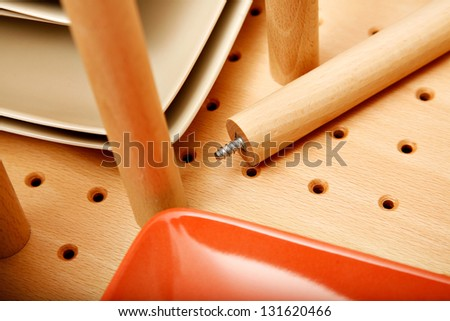 Divider in drawer for dishes - stock photo