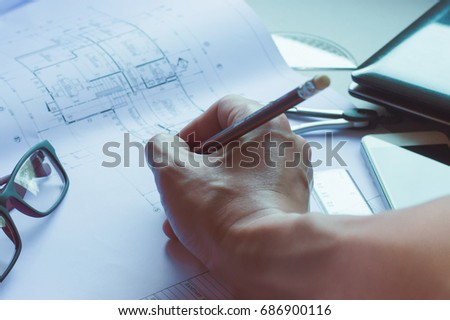 Blueprint pen ruler stock images royalty free images vectors divider pencil pen ruler glasses and smartphone and blueprint on table top malvernweather Image collections