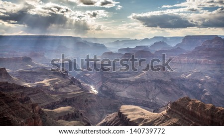 Divine light in Grand Canyon - stock photo