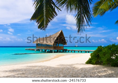 Diving club on a tropical island, travel background - stock photo