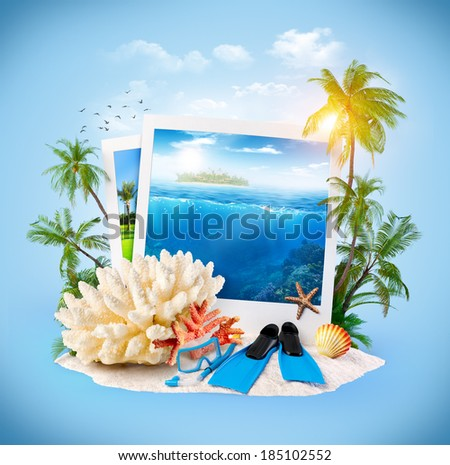 Diving equipment and corals on sand. Travel Background - stock photo