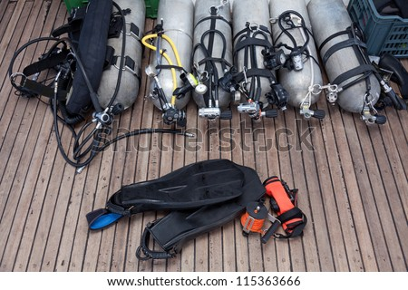 diving equipment on board the boat - stock photo