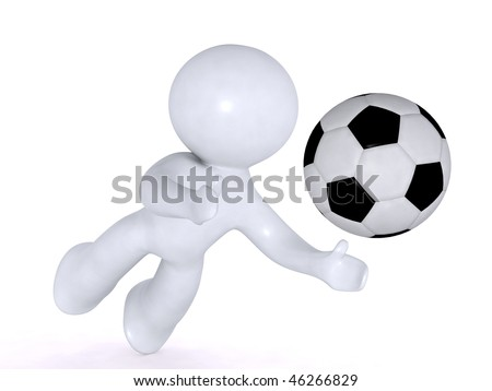 Diving for the soccer ball - stock photo