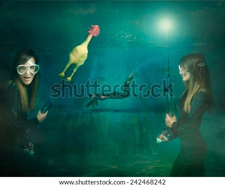 diving funny sketch with chicken caught - stock photo