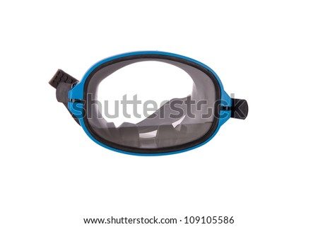 Diving gear - diving goggles and snorkel, isolated on white - stock photo