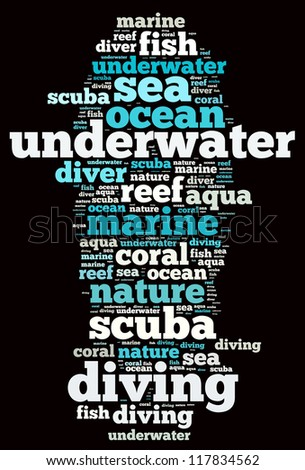 Diving info-text graphics and arrangement concept on black background (word cloud)