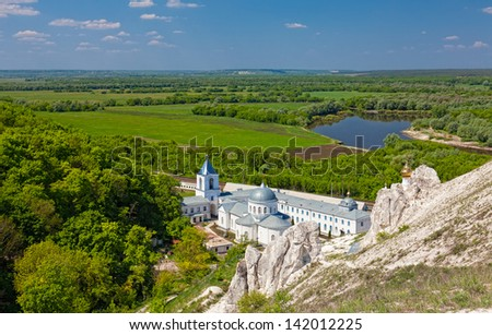Divnogorsky Sacred Uspensky man's monastery and river Don